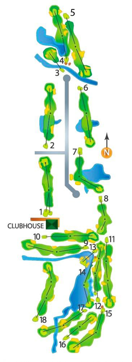 Map of Deerfield Golf Club's golf course. There are 18 holes. The course is a tall rectangle, with the clubhouse in the southwestern quarter.